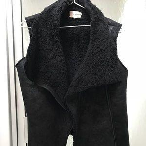 Black Shearling Vest, Size Small